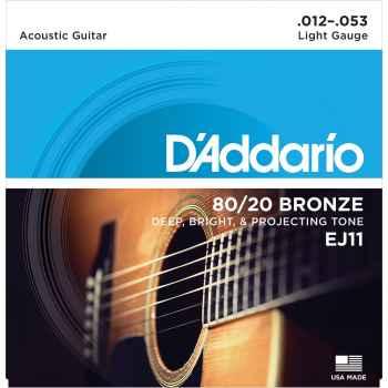 D´addario EJ11 - 80/20 Bronze Light cuerdas Guitarra Acústica